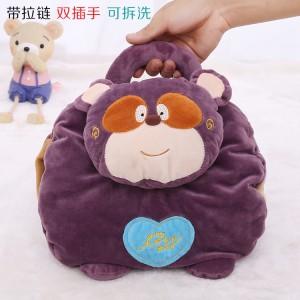 新款带拉链可拆洗双插手电热水袋 防爆暖手宝 二合一动物提手 紫色