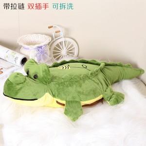 新款带拉链可拆洗双插手电热水袋 防爆暖手宝 鳄鱼 绿色