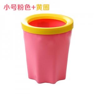 带压圈垃圾桶 家用厨房卫生间塑料垃圾筒 小号粉色+黄圈 135个/箱