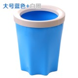 带压圈垃圾桶 家用厨房卫生间塑料垃圾筒 大号蓝色+白圈 48个/箱