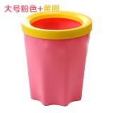 带压圈垃圾桶 家用厨房卫生间塑料垃圾筒 大号粉色+黄圈 48个/箱