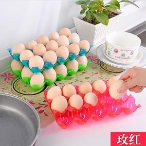 加厚可叠加15格鸡蛋收纳盒 放鸭蛋保护托 冰箱防碎鸡蛋盒 玫红色 120/箱