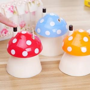 创意自动蘑菇牙签筒手压式高档牙签盒便携牙签收纳罐 颜色随机
