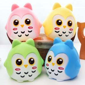 创意儿童存钱罐猫头鹰存钱罐防摔礼品韩国创意生日礼物   黄色