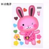 可爱卡通韩式彩色防水马桶贴 装饰贴纸 墙贴 小兔子 100个一捆