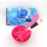 DIY美容四件套面膜碗+面膜棒+面膜刷+计量器 玫红
