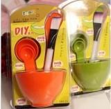 DIY美容四件套面膜碗+面膜棒+面膜刷+计量器 橙色