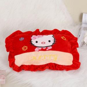 新款带拉链可拆洗双插手电热水袋 防爆暖手宝 绣花抱枕  红色KT猫