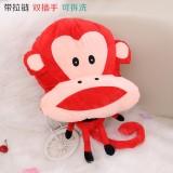 新款带拉链可拆洗双插手电热水袋 防爆暖手宝   大嘴猴 大头红色