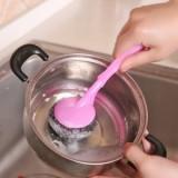 彩袋装 厨房长柄锅刷可挂式强力去污洗碗清洁刷子可换不锈钢丝球 粉色 500个/箱