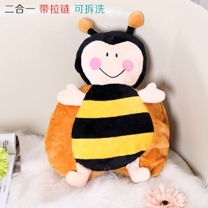 新款带拉链可拆洗双插手电热水袋 防爆暖手宝 二合一蜜蜂  黄色