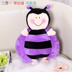 新款带拉链可拆洗双插手电热水袋 防爆暖手宝 二合一蜜蜂  紫色
