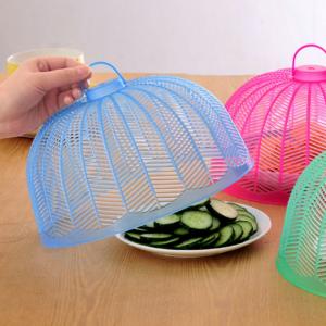 塑料防蝇防蚊迷你菜罩饭菜罩食物罩桌罩盖 透明蓝 300个/箱