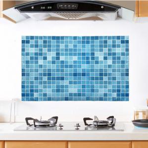 马赛克 耐高温厨房防油贴纸  油烟机防水瓷砖贴 橱柜贴纸 蓝色