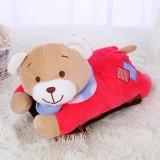 新款带拉链可拆洗双插手电热水袋 防爆暖手宝 睡衣熊  红色