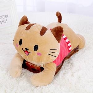 新款电热水袋 防爆卡通充电暖手宝 条纹趴趴猫   粉色衣服