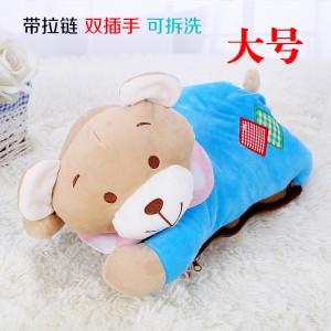 新款带拉链可拆洗双插手电热水袋 防爆暖手宝 大号睡衣熊-蓝色