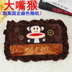 新款电热水袋 防爆卡通充电暖手宝  绣花抱枕混色   大嘴猴