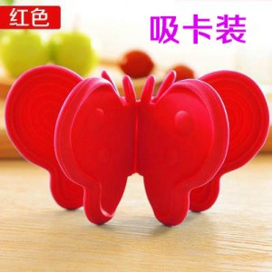 蝴蝶硅胶防烫隔热手套取盘碗夹微波炉烤箱护手器 2个装 红色 300个/箱