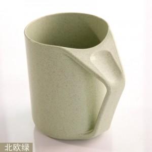 创意小麦秸秆漱口杯马克杯简约牙刷杯情侣洗漱杯 北欧绿