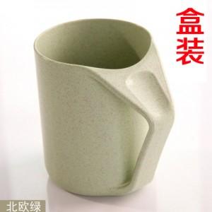 盒装 创意小麦秸秆漱口杯马克杯简约牙刷杯情侣洗漱杯 北欧绿 180个/箱