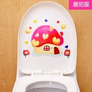 可爱卡通韩式彩色防水马桶贴 装饰贴纸 墙贴 蘑菇 100个一捆