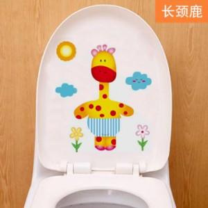 可爱卡通韩式彩色防水马桶贴 装饰贴纸 墙贴 长颈鹿 100个一捆