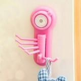 炫彩强力吸盘无痕六爪挂钩 创意多用途小物件6连挂钩 粉色