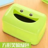 笑脸可爱纸巾盒卫生间车用家用塑料抽纸盒 绿色 147个/箱