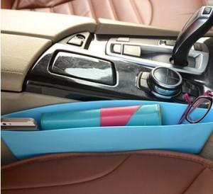 汽车大号压缩座椅夹缝杂物垃圾收纳盒车载手机储物置物盒 蓝色