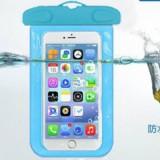 阀门式超强密封手机防水袋游泳 手机防水套 夹子式防水包 天蓝色