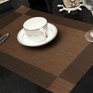 PVC餐垫 隔热垫 相框 对角2色方格 咖啡色对角 300个/箱
