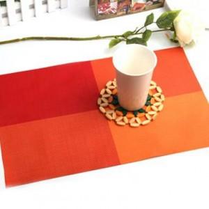 PVC餐垫 隔热垫 4色方格(田字格) 橙色 300个/箱