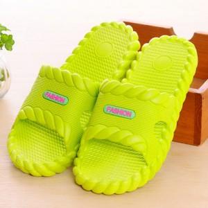 夏季凉拖鞋浴室防滑家居情侣麻花边塑料拖鞋 黄绿 60个/箱