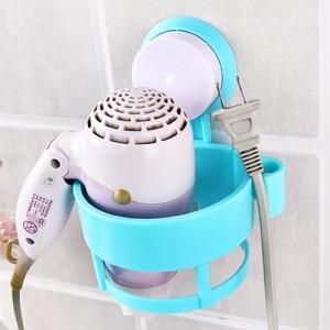 强力吸盘吹风机架浴室置物架卫生间风筒挂架收纳架子 蓝色