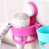 强力吸盘吹风机架浴室置物架卫生间风筒挂架收纳架子 粉色