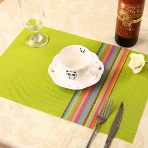 PVC餐垫 隔热垫 七彩竖条纹 绿色 300个/箱