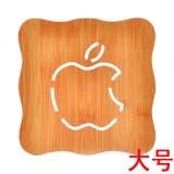 创意镂空木质杯垫厨房加厚防烫隔热碗垫餐垫 大号缺口苹果