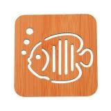 创意镂空木质杯垫厨房加厚防烫隔热碗垫餐垫 小号鱼泡泡 700个/箱