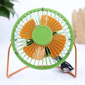 时尚撞色双色 4寸USB铁艺金属超静音360度旋转风扇 绿橙 60/箱