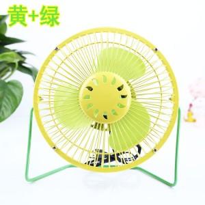 时尚撞色双色 6寸USB铁艺金属360度旋转风扇 黄网罩+绿 45个/箱