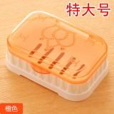 特大号透明沥水皇冠肥皂盒带盖塑料皂托皂架香皂盒 橙色 200个/件