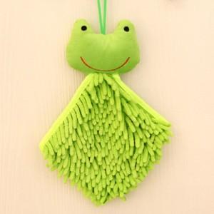 可爱卡通动物头雪尼尔擦手巾/方巾--绿色青蛙