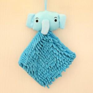 可爱卡通动物头雪尼尔擦手巾/方巾--蓝色大象