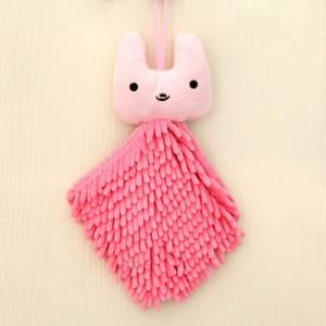 可爱卡通动物头雪尼尔擦手巾/方巾--粉色兔子