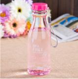 便捷密封防漏塑料水杯子带吸管摔不破汽水瓶 粉色 120个/箱