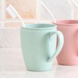 小麦秸秆漱口杯条纹茶杯情侣水杯塑料牙刷杯子 蓝色
