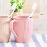 小麦秸秆漱口杯条纹茶杯情侣水杯塑料牙刷杯子 粉色