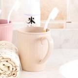 小麦秸秆漱口杯条纹茶杯情侣水杯塑料牙刷杯子 米色