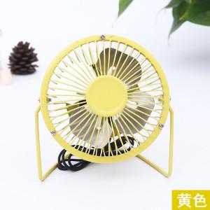 360度旋转4寸铁艺风扇 迷你风扇 usb迷你小风扇电风扇 黄色 60个/箱